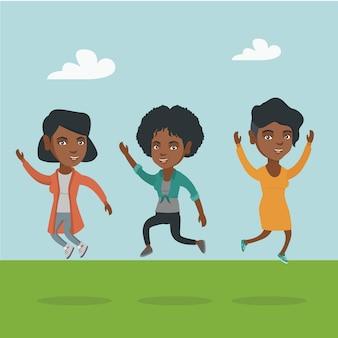 Grupo de pessoas afro-americanas alegres pulando.