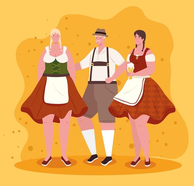 Grupo de pessoas alemãs em drees nacionais, mulheres e homens em traje tradicional da baviera, design de ilustração vetorial
