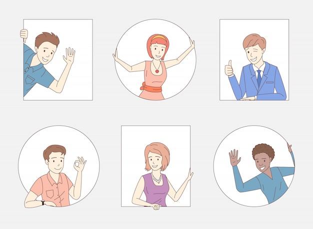 Grupo de pessoas aparecendo polegares, sinal bem, acenando olá. amigos, funcionários da empresa, colegas, personagens de pessoas de negócios.