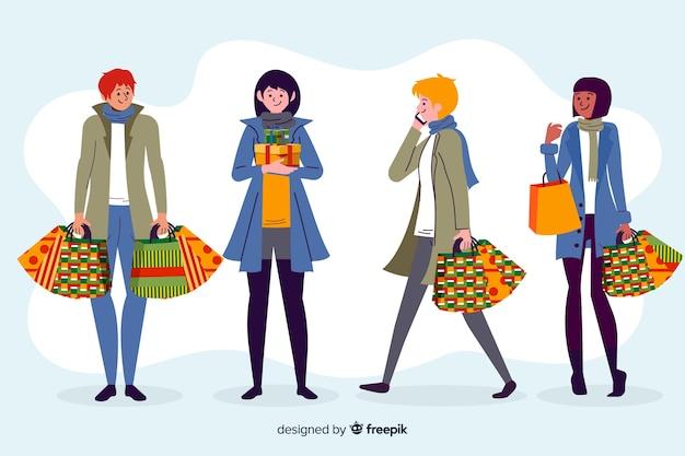 Grupo de pessoas às compras