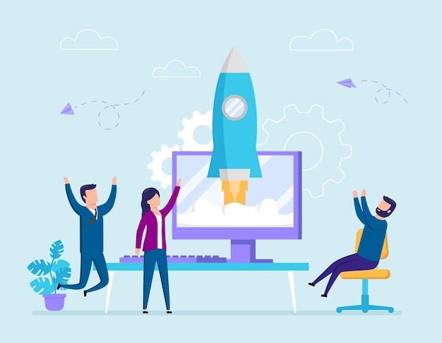 Grupo de pessoas assistir foguete decolar da tela do computador. ilustração do conceito de inicialização em estilo cartoon plana. composição vetorial com personagens masculinos e femininos felizes em roupas de escritório torcendo.