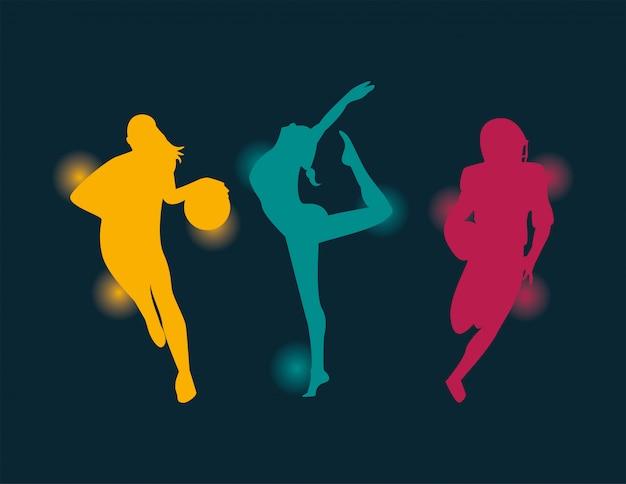 Grupo de pessoas atléticas praticando esportes silhuetas vetor design de ilustração