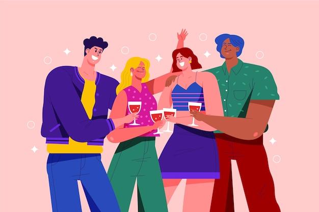 Grupo de pessoas brindando juntos conceito