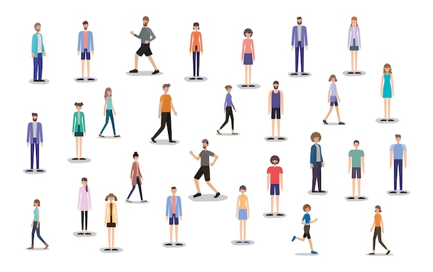 Grupo de pessoas caminhando e correndo personagens