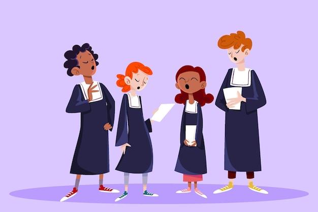 Grupo de pessoas cantando em um coral gospel ilustrado