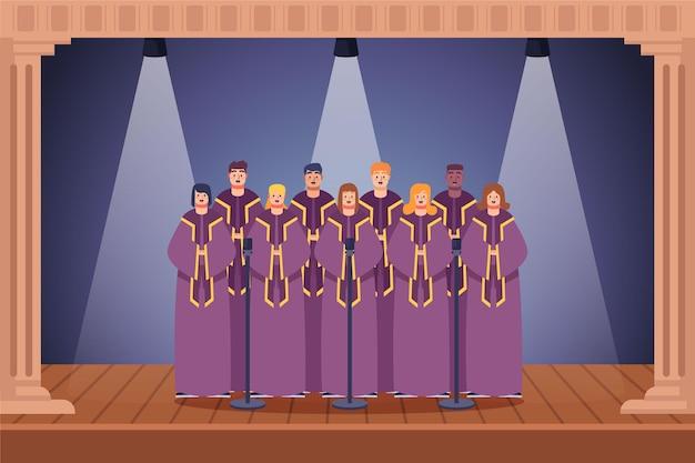 Grupo de pessoas cantando em um coro gospel