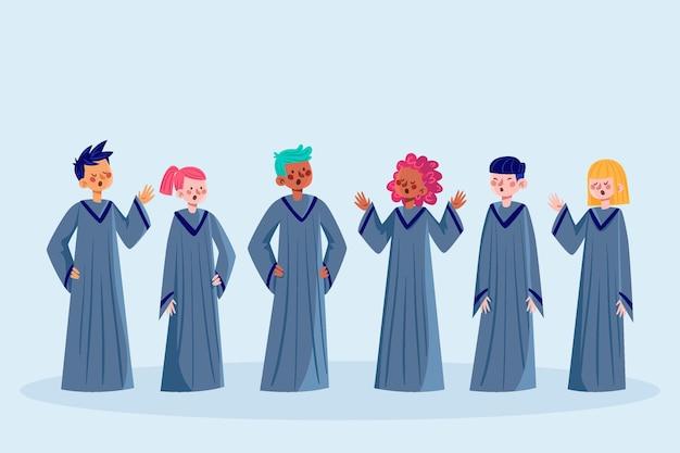 Grupo de pessoas cantando em uma ilustração de coral gospel