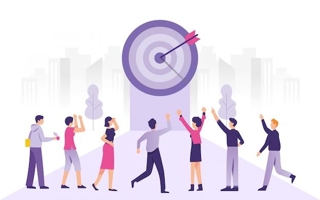 Grupo de pessoas celebra sua conquista nos negócios-alvo