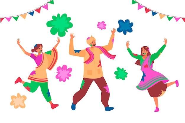 Grupo de pessoas celebrando o festival de holi