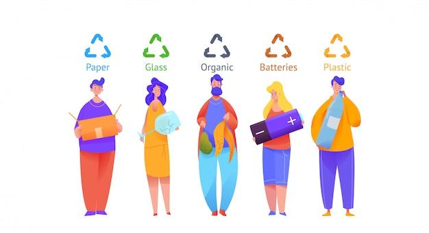 Grupo de pessoas classificar lixo em caixas coloridas.