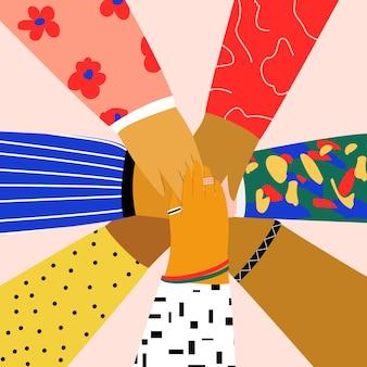 Grupo de pessoas colocando as mãos uns sobre os outros. amizade, parceria, trabalho em equipe, comunidade, conceito de construção de equipes. ilustração plana em estilo cartoon moderno