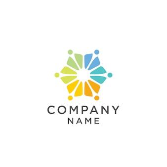 Grupo de pessoas coloridas team logo design ilustração