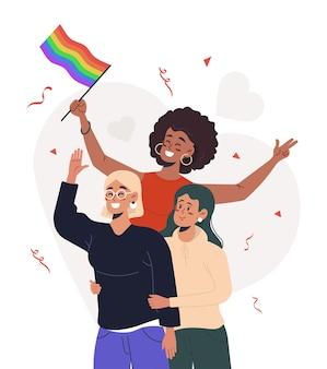 Grupo de pessoas com bandeiras de arco-íris e símbolos na parada do orgulho lgbt