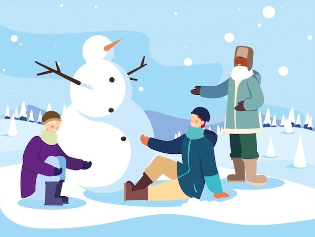Grupo de pessoas com boneco de neve na paisagem de inverno