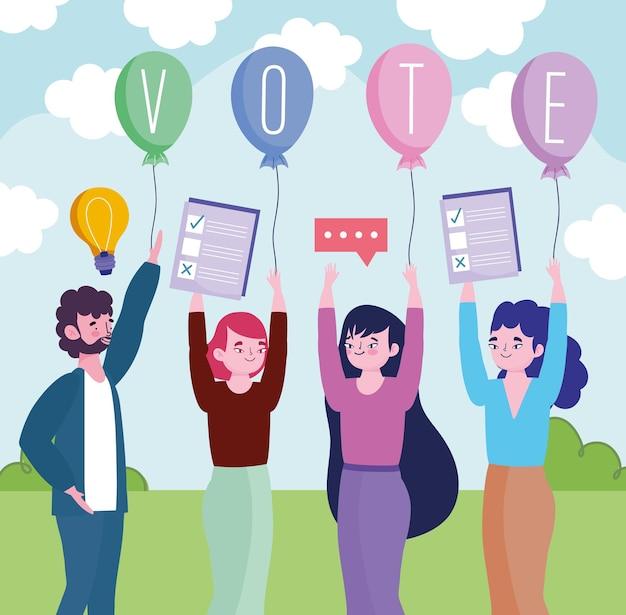 Grupo de pessoas com cédulas de voto e balões anunciando a ilustração das eleições