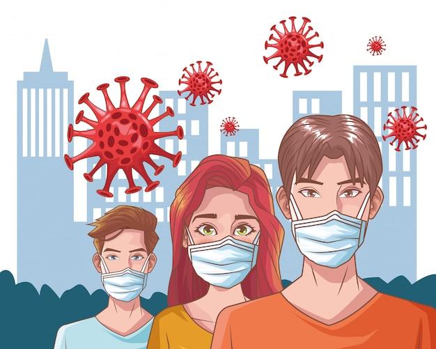 Grupo de pessoas com cena de coronavírus