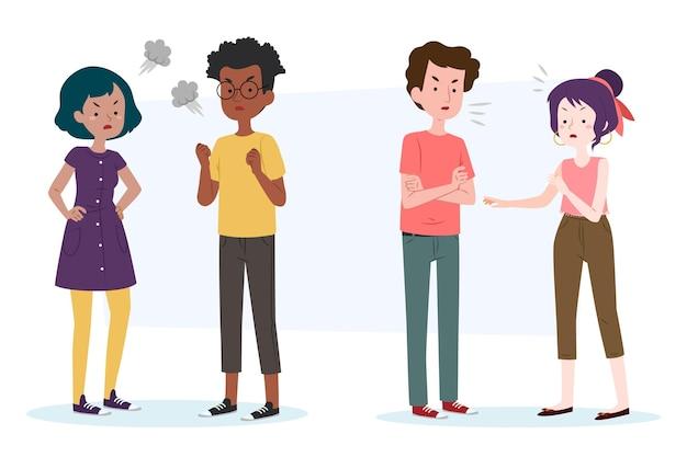 Grupo de pessoas com conflitos de casal