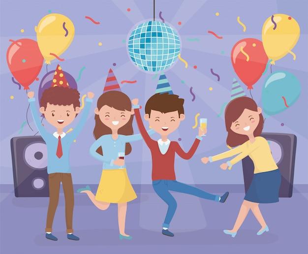 Grupo de pessoas com festa de celebração de balões de confete