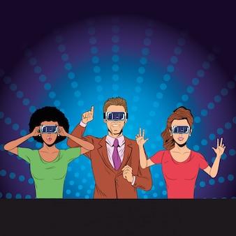 Grupo de pessoas com fone de ouvido de realidade virtual
