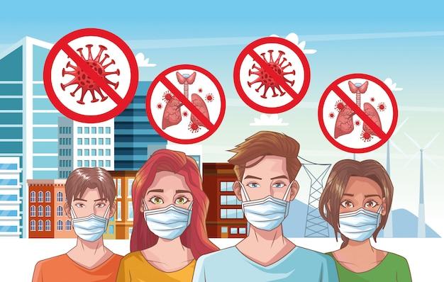 Grupo de pessoas com ilustração de cena de coronavírus