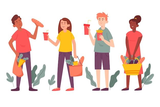 Grupo de pessoas com ilustração de comida