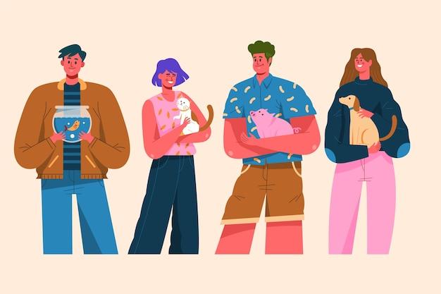 Grupo de pessoas com ilustração de diferentes animais de estimação