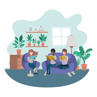 Grupo de pessoas com livro no personagem de avatar de sala de visitas