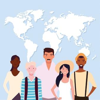 Grupo de pessoas com mapa da terra