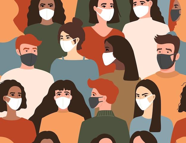 Grupo de pessoas com máscara facial médica branca e preta.