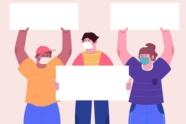Grupo de pessoas com máscaras médicas e cartazes