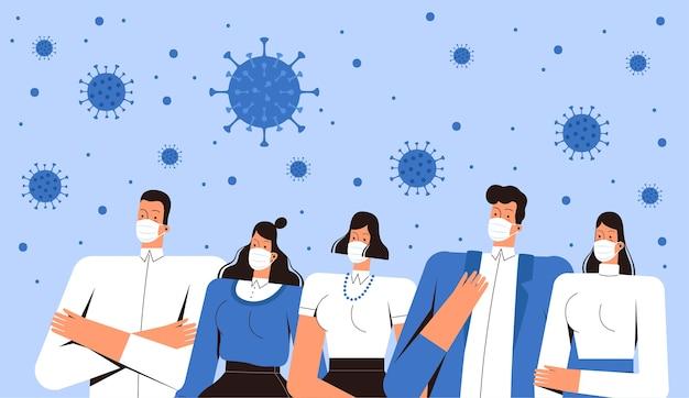 Grupo de pessoas com máscaras médicas olha para o coronavírus ncov 2019 voando no ar. homens e mulheres jovens enfrentam o novo vírus. o conceito de combate ao covid-2019. plano