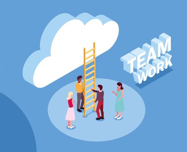 Grupo de pessoas com nuvens e escadas, trabalho em equipe