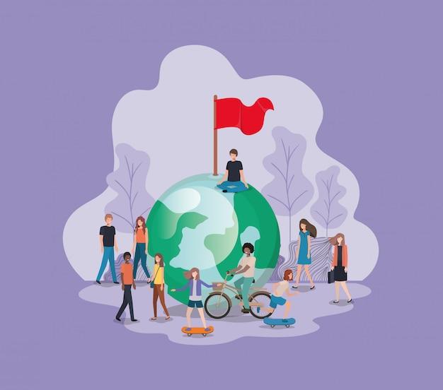 Grupo de pessoas com o personagem de avatar do planeta terra