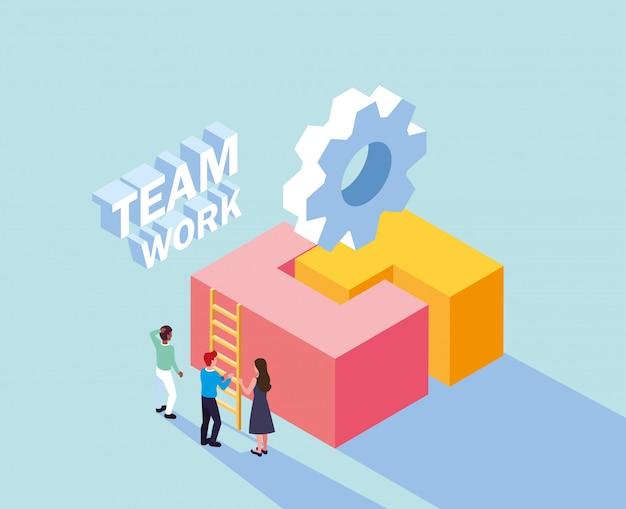 Grupo de pessoas com peça de quebra-cabeça, trabalho em equipe