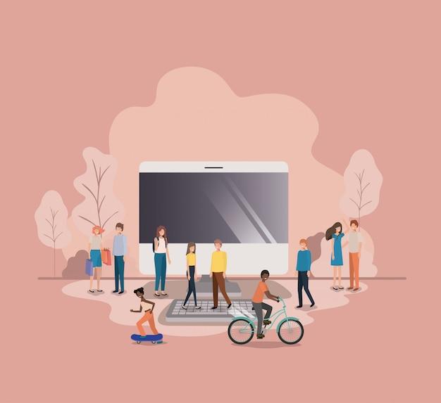 Grupo de pessoas com personagem de avatar de área de trabalho do computador