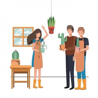 Grupo de pessoas com personagem de avatar de planta de casa