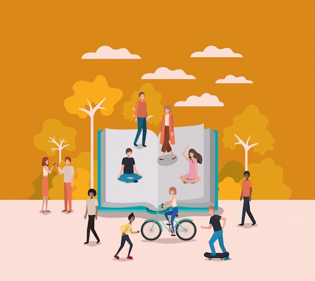 Grupo de pessoas com personagens de avatares de livro