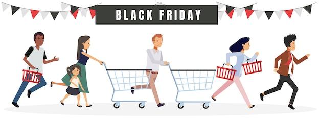 Grupo de pessoas com pressa para fazer compras na venda de sexta-feira negra.