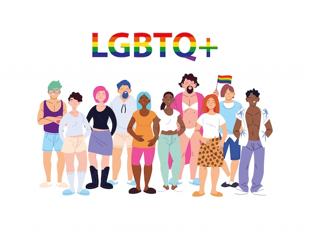 Grupo de pessoas com símbolo de orgulho gay lgbtq, igualdade e direitos dos homossexuais