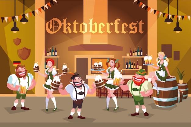Grupo de pessoas com vestido tradicional alemão bebe cerveja no bar celebração da oktoberfest