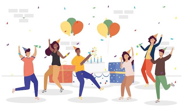 Grupo de pessoas comemorando aniversário com presentes e balões de hélio.