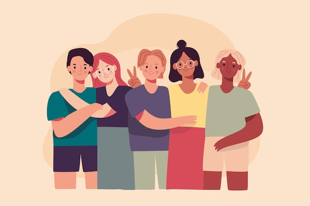 Grupo de pessoas compartilhando memórias pessoais