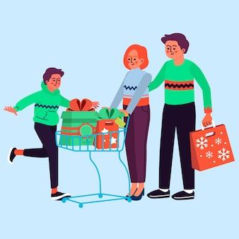 Grupo de pessoas comprando presentes
