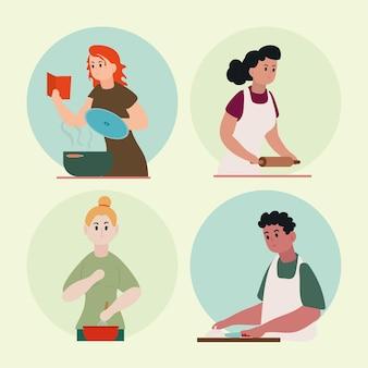 Grupo de pessoas cozinhando personagens