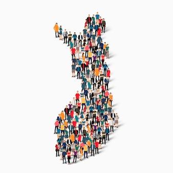 Grupo de pessoas da multidão formando um mapa da finlândia. Vetor Premium