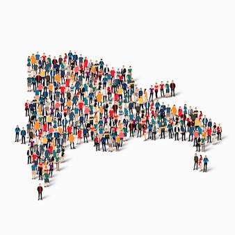 Grupo de pessoas da multidão formando um mapa da república dominicana. Vetor Premium