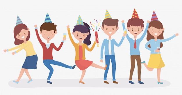 Grupo de pessoas dançando celebrando a festa