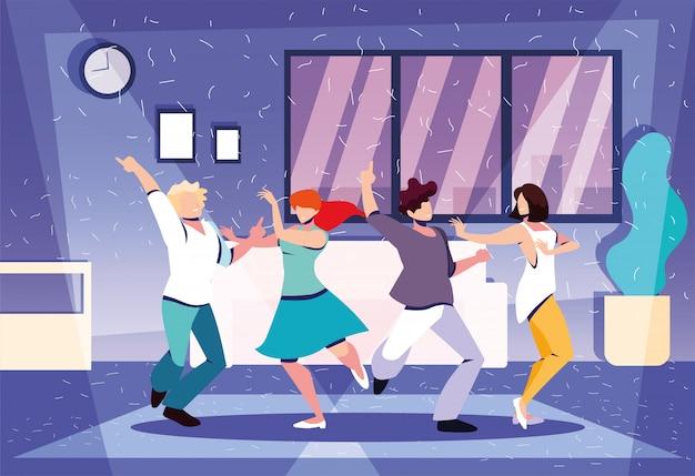 Grupo de pessoas dançando em casa, festa, música e vida noturna