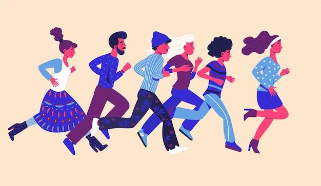 Grupo de pessoas de corredores isolado no fundo branco. competindo entre homem e mulher.