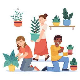 Grupo de pessoas de design plano cuidando das plantas